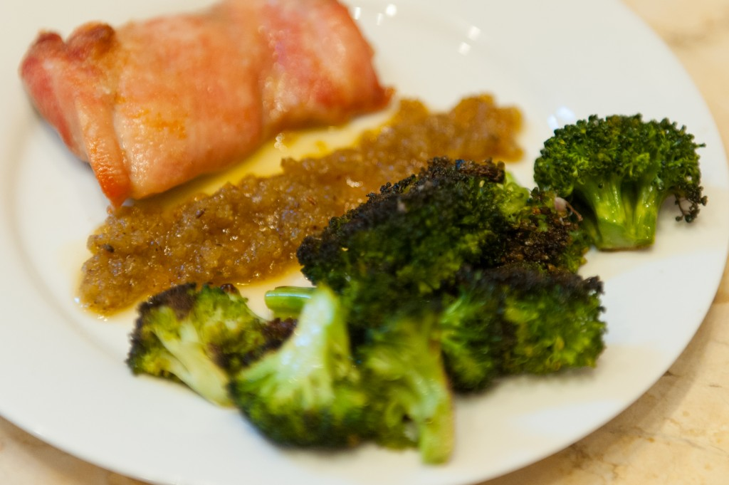 Roasted Broccoli and Chicken with Raisin Sauce