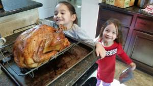 My girls, admiring the turkey!